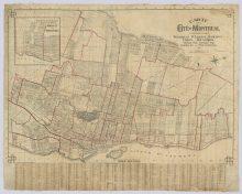 Carte de la cité de Montréal : comprenant Westmount, St-Laurent, Outremont, Verdun, Mount-Royal, Montreal-West, Montréal-Nord, Montréal-Est, et Pointe-aux-Trembles [avec les trajets de tramways]