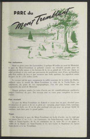 Parc du Mont Tremblant / [Ministère du tourisme, de la chasse et de la pêche, Service des parcs]